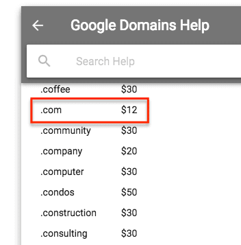 Google Domains Pricing