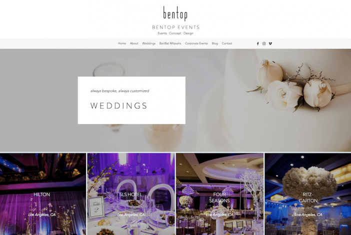 Bentop Events Website