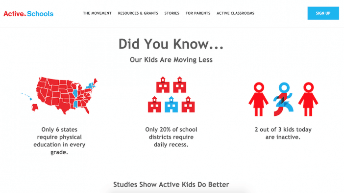 Active Schools squarespace website example