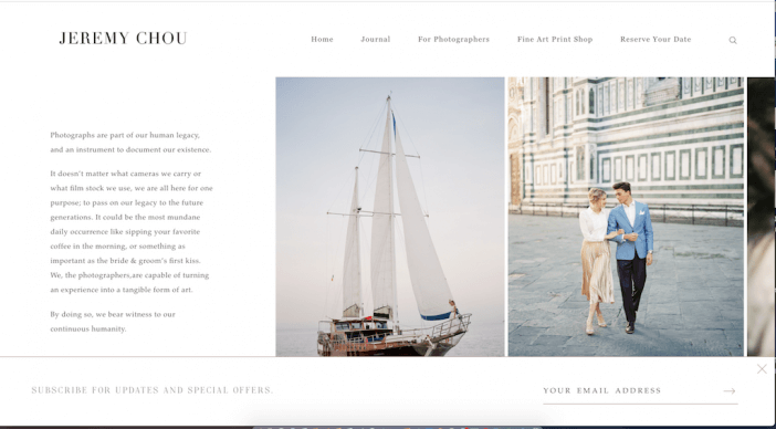 Jeremy Chou photography website example