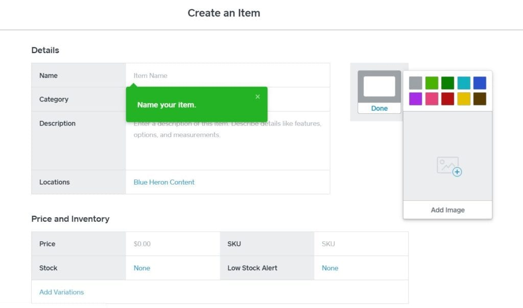 Create an Item Screen in Square Dashboard