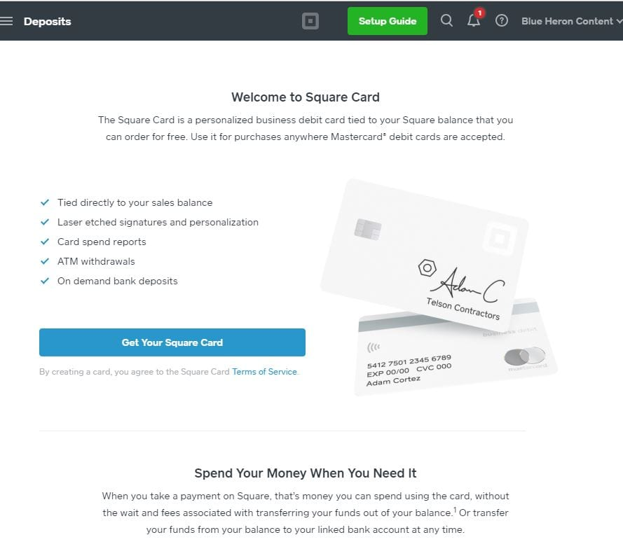 Square Card Small Business