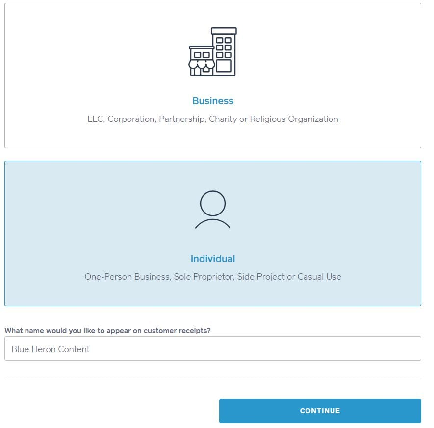 Create an individual square account for business