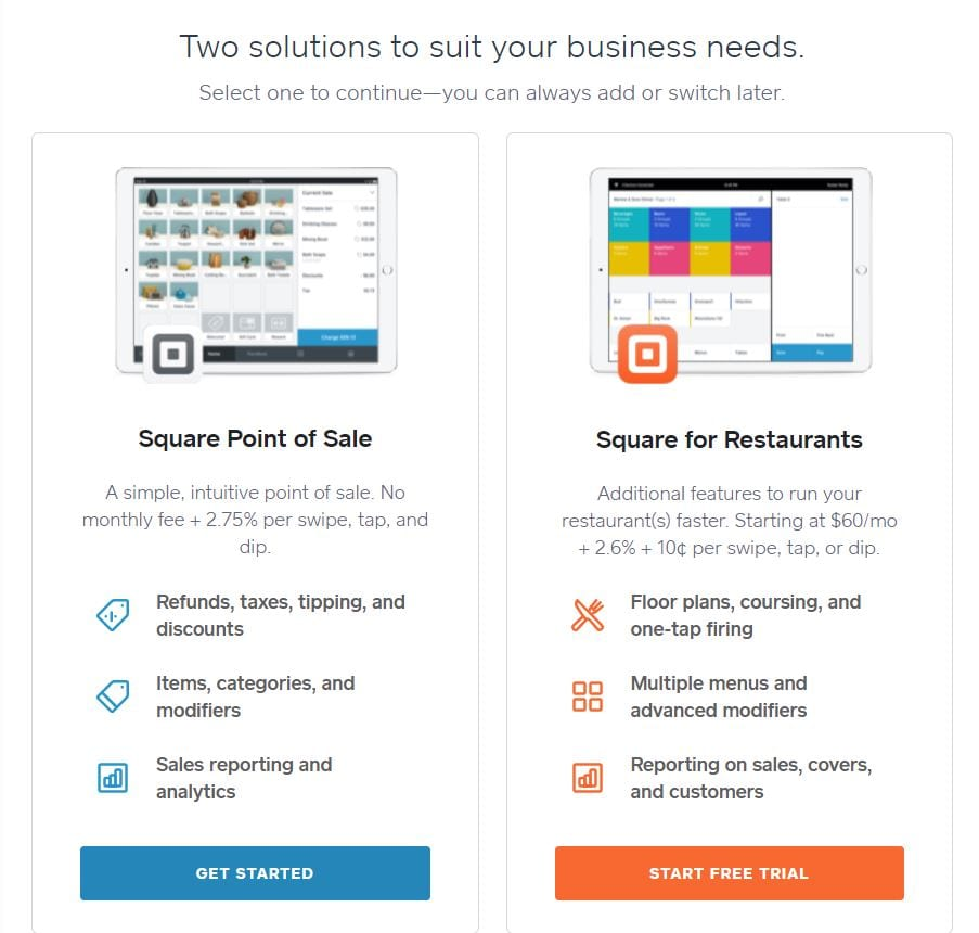 Square Point of Sale and Square for Restaurants