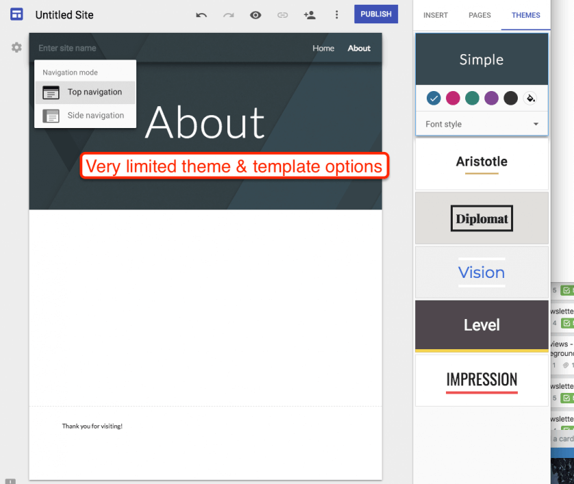 Google Sites Template Options
